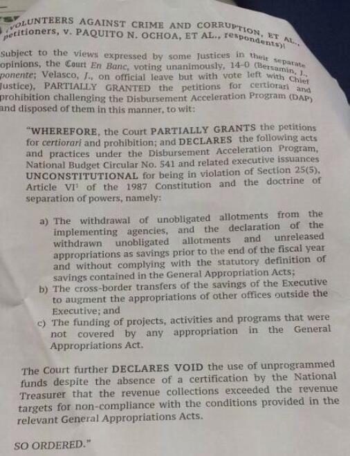 SC decision on DAP