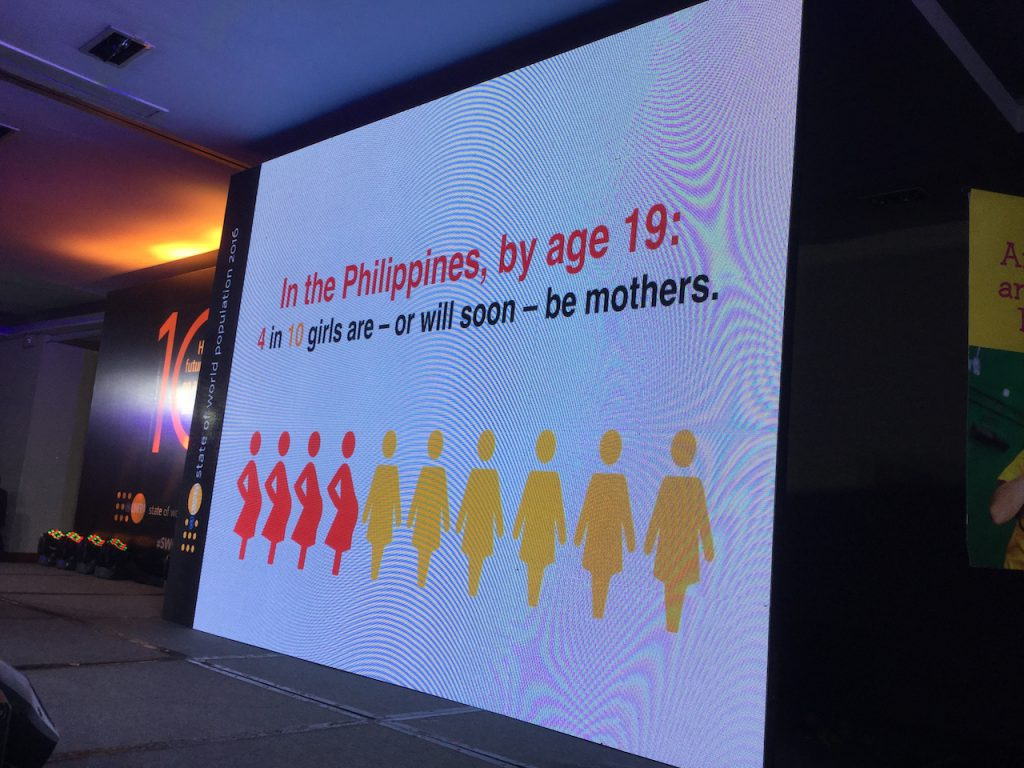 Filipina mothers are getting younger and younger. 4 out of 10 girls become mothers by the age of 19.