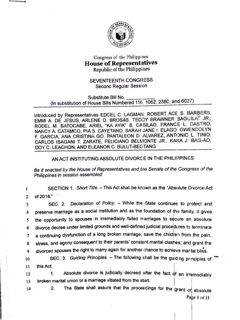 divorce bill philippines