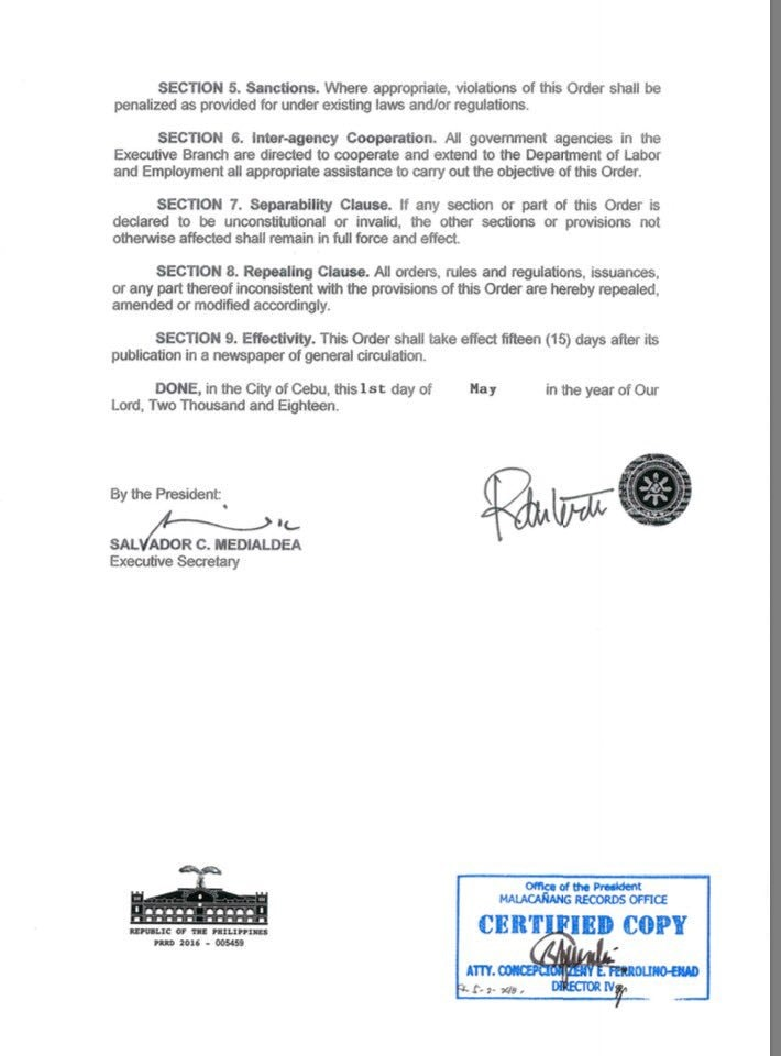 executive order 51 contractualization